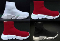 Flat speed football boots - Fashion Woman Mens Mid Casual Sports Shoes Speed Trainers Stretch knit Sock Sneakers New Designer Men Women Black Red White Running Shoes