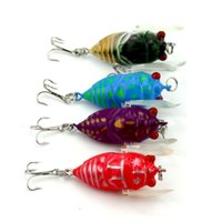Wholesale Trout Minnow Lures - 4pcs lot Insect Lure Fishing Tackle Lure Bionic Bait Fishing Lure Minnow Crankbait Trout Tackle 4cm 6.4g 4 Color Set 2508052