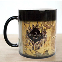 Wholesale Temperature Changing Mugs - Free shipping! Harry Potter Magic Marauders Map Magic Hot Cold Heat Temperature Sensitive Color-Changing Coffee Tea Milk Mug Cup
