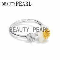 Wholesale Bulk 925 Rings - Bulk of 3 Pieces Ring Settings 925 Sterling Silver Finding for DIY Jewellery White Shell Flower Ring