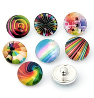 Wholesale Glass Beads Cartoon - 2017 New 18MM glass charm many design flower cartoon noosa button snap button diy jewelry Christmas gift hot sale drop shipping