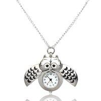 Wholesale Metal Fob Watches - Wholesale-Creative Unisex Luxury Fob Watches Mini Metal Key Ring owl double open Quartz Watch Men Women Pocket Watches Gift