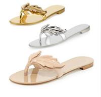 Wholesale Thong Beach Slides - 2017 Summer New Fashion Design Slipper Sandals Women Leaves Slides Flip-Flops flats With Wing Women Gladiator Thong Sandals