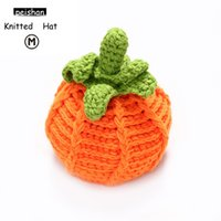 Wholesale Knitted Character Baby Hats - Baby pumpkin hat cap handmade all-match knitted hat cap for children