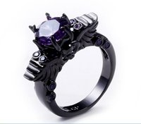 Barato Mulheres Anel De Cristal De Crânio-2017 Fashion Rhinestone Cluster Ring Black Gold Filled Purple Stone Crystal Ring Sets Skull Shaped For Women Wedding Engagement Jewelry