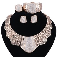Wholesale Gold Earrings Bling - sale 2017 Bling-Bling Gold Fashion Jewelry Sets ,Chunky Necklace Bangle Black Women Costume Jewelry Set & More