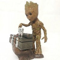 un botón al por mayor-Hot Guardians de la Galaxia Groot Anime Carácter Baby Push Bomb Button Una pieza de acción Estatua Estatua Toy Modelo Resina