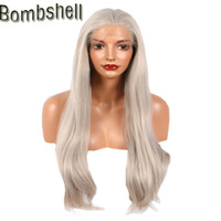 Wholesale Ash Blonde Lace Wig - Bombshell Blonde Silky Straight Lace Front Synthetic Wigs Ash Platinum Blond Glueless Hand Tied Heat Resistant Fiber For Women