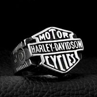 Wholesale motorcycle christmas gifts - Wholesale Harley Davidson motorcycle, men's letters, stainless steel rings, personality punk, Davidson rock band