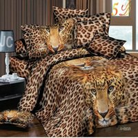 Wholesale Gold King Size Duvet Cover - Wholesale-Designer 3D Animal Duvet Cover Leopard Print Bedding Sets King Size Bedsheet Double Bedlinen