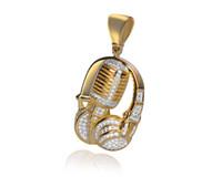Wholesale Microphone Necklace Men - 2017 NEW Men Women Charm Headset Pendants Jewelry Gifts Bling Earphone Headphone Hip Hop Music Microphone