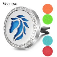 Wholesale Steel Pendant Crystal - Essential Oil Car Diffuser Locket 316L Stainless Steel Vent Clip Crystal Pendant Magnetic without Felt Pads VA-347