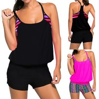 Wholesale two piece black swimsuit - 2017 Sexy Women Tankini Two-Piece Contrast Color Sport Wear Beach Wear Swimsuit Bathing Suit Plus Size