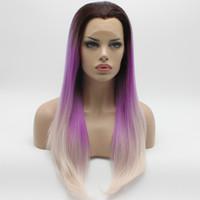 uzun peruk sarışın 613 toptan satış-Iwona Saç Düz Uzun Koyu Kök Mor Işık Sarışın Ombre Peruk 2 # TT4 / 1306/613 Yarım El Bağlı Isıya Dayanıklı Sentetik Dantel Ön Peruk