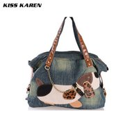 Wholesale Dog Design Handbag - Wholesale-Casual Fashion Lovely Dog Trendy Design Denim Women Bag Popular Female Handbag Jeans Women Shoulder Bags Women's Tote Bags