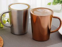 Wholesale Coffee Color Suit - 350ml Copper cups 304 stainless steel coffee mugs double milk mugs silver and gold color suit for bar,cafe