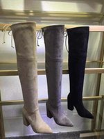 Wholesale Genuine Leather Over Knee Boots - Women Faux Suede Stretch over the knee high boots Ladies Autumn winter High heel boots lace up thigh high boots
