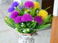 Wholesale artificial chrysanthemums - Colourful cute silk ball chrysanthemum flower fake artificial dandelion 5 heads bouquet Outdoor garden decoration flower plant