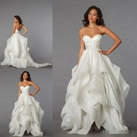 Wholesale Drop Waist Ruffled Wedding Dress - 2016 Wedding Dresses Pnina Tornai Collection Vintage A Line Sweetheart with Sheer Waist Low Lace up Back Drapped Brush Train Bridal Gowns