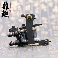 Wholesale Tattoo Liner Machine Free Shipping - Hot Sales Tattoo Machine 10 Wrap Coils Tattoo Black Color Gun High Quality Tattoo Supply TM462 Free Shipping