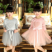 Wholesale Tutu Dress Lengths Tulle - 2017 HOT New Ball Gown Cotton and Tulle Princess Girl Dresses with Sash Crew Neck Long Sleeve Knee Length Tutu Baby Kids Dress High Quality