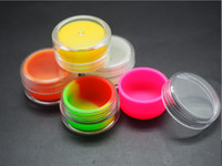 Wholesale Wholesale Clear Acrylic Containers - Rich color 7ml clear acrylic jar wax concentrate containers, Plastic container with silcone inner Non-stick silicone Dab Storage Jars