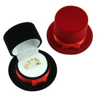 Jewelry Boxes black magician hat - Black White Velvet Magician Hat Shape Display Box Case for Jewelry Stud Earrings Ring Creative Gifts Box Case
