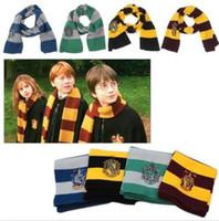ingrosso sciarpa di hufflepuff-Harry Potter Sciarpa Grifondoro Scuola Unisex Sciarpe a righe Grifondoro Sciarpe Harry Potter Tassorosso Cosplay Sciarpe KKA2745