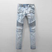 Wholesale Top Hip Hop Jeans Brands - top quality new Distressed Ripped Skinny Biker Elastic Jeans VINTAGE Brand Designer Slim Fit Mens Motorcycle Denim Hip Hop jeans28-42 1013