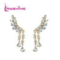 Wholesale Gold Leafs Drop Earring - Gold-Color Silver Color Rhinestone Leaf Branches With Double Water Drop Chain Drop Earrings For Women Accessories