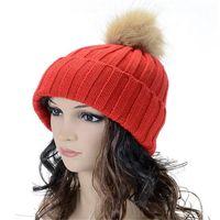 Wholesale Christmas Tights For Women - Winter Fashion Beanie Classic Tight Knitted Fur Pom Poms Hat for Women Cap Winter Beanie Designer Headgear Headdress Head Warmer DHL Free