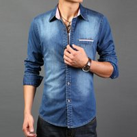 Wholesale Casual Slim Fitting Shirts Best - Wholesale- Best quality Man spring 2014 Fashion water wash denim men shirt long sleeve famous brand slim fit camisa masculina manga longa