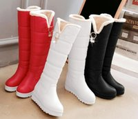 Wholesale Red White Boots - Winter boots for women's shoes flat bottom thick boots female cotton boots snow boots knee boots Red white black
