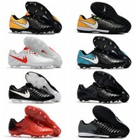 Wholesale Cheap Silver Boots - 2018 original white soccer cleats Tiempo Legend VII FG indoor soccer shoes low Tiempo Ligera IV IC TF turf mens football boots cheap new hot