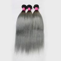 3pcs / lot Brazilian Ombre Hair Weft Two Tone Dark Root 1B / 613 1b / Grey Lover peruano Straight cabelo humano Soft Cheap Hair Bundles