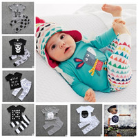 Wholesale 12 Month Girl Outfit - Baby Clothes Kids Ins T Shirts Pants Boys Summer Tops Shorts Girls Letter Print Shirts Trousers Fashion Animal Suits Casual Outfits KKA2098