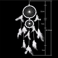 ingrosso campane rotonde-Dream Catcher Hanging Decoration Ornament Craft Gift Due anelli Round Eolie Bells White Car Family Ornaments 8lz B R