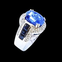 Wholesale Natural Diamonds Ring - GIA 10.04CT NATURAL CEYLON BLUE SAPPHIRE 14K WHITE GOLD RING
