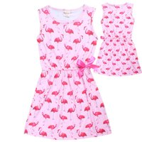Wholesale Tutu Teenagers - 2017 Flamingo Girl Dress Summer Sleeveless Dresses for Girls Children's Teenager Designs Swan Baby Kids Clothes Princess Dresses