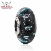 Wholesale Diy Jewery - Memnon Jewery Teal Murano Glass Beads For Jewelry Making Original Pure 925 Sterling Silver Glass Bead Charm Fit Pandora Bracelet DIY bead033