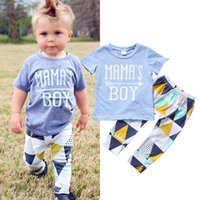 Wholesale Baby Boy Letter Shirt - 2017 Summer Newborn Baby Boys Tops Letter T-shirt+ Long Pants Leggings Outfits Set Clothes Cotton 0-24Months