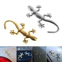 gecko aufkleber großhandel-Personalisierte 3D Metall Gecko lustige Auto Aufkleber Decals Auto Emblem Bedges Styling Autoaufkleber CDE_00N
