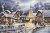 Wholesale Modern Nude Oil Paintings - Thomas Kinkade Landscape Oil Painting Reproduction High Quality Giclee Print on Canvas Lively Of Christmas Modern Home Art Living Room Decor