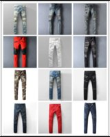 Wholesale Designer Hole Men Biker Jeans Classic Straight Jeans Wash Cowboy Slim Denim Trousers Skinny Pants Casual Mens Ripped Jean Motorcycle Jeans