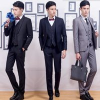 Wholesale Stylish Groom Vests - Simple and stylish men suits new arrival men's wedding tuxedos suits good quality groom best man prom dress suits (jacket+vest+pants)