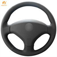 Wholesale Peugeot Leather - Mewant Black Genuine Leather Car Steering Wheel Cover for Old Peugeot 408 Peugeot 308