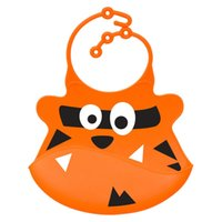 Wholesale Crumb Catcher - Wholesale- Bibs soft silicone baby and toddler bib with crumb catcher-Orange
