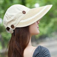 Wholesale Women Summer Anti Uv Hat - Wholesale- BKONE Summer Adjustable Sun Hats Wide Brim Visors Foldable Anti-uv Sun Hats Women Solid Denim Removable Striped Panama Beach Cap