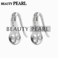 Wholesale Earrings Blanks - 5 Pairs Wholesale Earring Blanks 925 Sterling Silver with Cubic Zirconia Jewellery Findings Earwire 15*6mm Fishhook