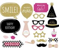 doğum günü fotoboş sahne toptan satış-20 ADET DIY Flaş Altın Photobooth Kağıt Meslekler Bıyık Dudak Eğlenceli Mutlu Doğum Günü Fotoğraf Standında Sahne Doğum Günü Partisi